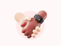 Do we hold hands or something? 🥰– 3D Illustration hands apple apple watch 3d art simple minimal character design cute love valentine day valentine blender render clean illustration design 3d illustration 3d graphic 3d