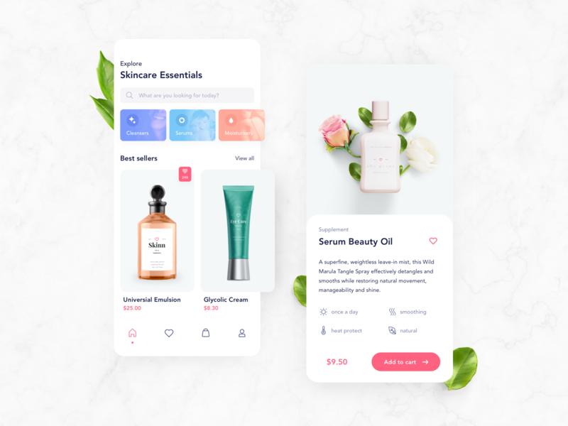 Cosmetics app – UI freebie 🌿 ux free freebie cosmetics minimal typography cards ui cards ui app design clean