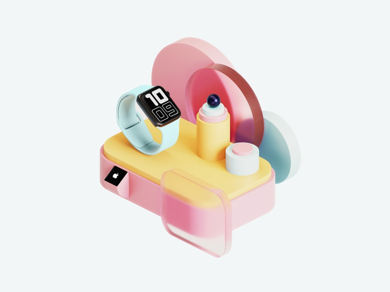 3D Illustration – 🍬Apple Watch & Candy shapes exploration clean colors simple render minimal illustration blender3d blender apple watch apple 3d graphic 3d illustration 3d modeling 3d art 3d