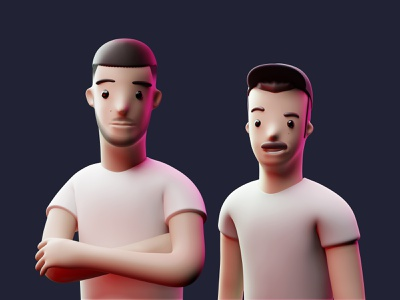 3D Characters – Andreas & Malthe modern 3d characters 3d art modeling zbrush design clean 3d character modeling illustration 3d illustration cute minimal branding blender3d blender 3d character 3d