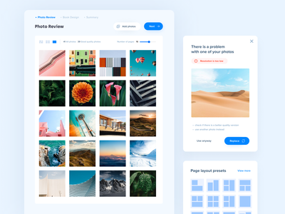 Photo book Creator 🏞 – Components design responsive web app web app photo album photobook photo minimal clean interface ux design ui design ux ui