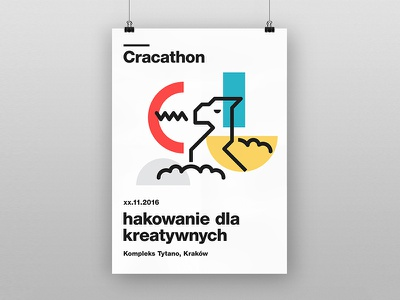 Hackaton branding geometric event cracow kraków dragon brand graphic poster minimal clean