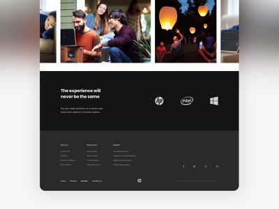 HP Envy x360 – Landing Page footer footer design web design landing page ui minimal typography design clean