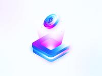 Isometric bitcoin wallet