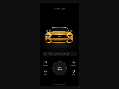 Car experience UI ⚡ dark ui mp4 animation mustang vehicle eevee blender iphone x interaction design interaction ux ui  ux ui black automotive app