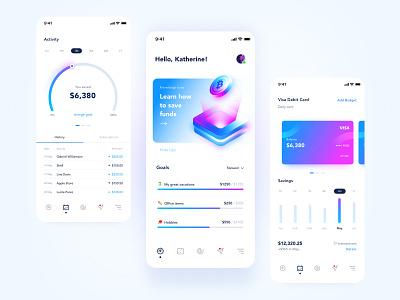Finance app - Mobile banking 💵 money money app typography illustration banking fintech finance fin ui design minimal clean