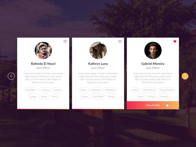 Profile Cards categories tags profile cards modal app design app account user ux ui pink gradient orange popup