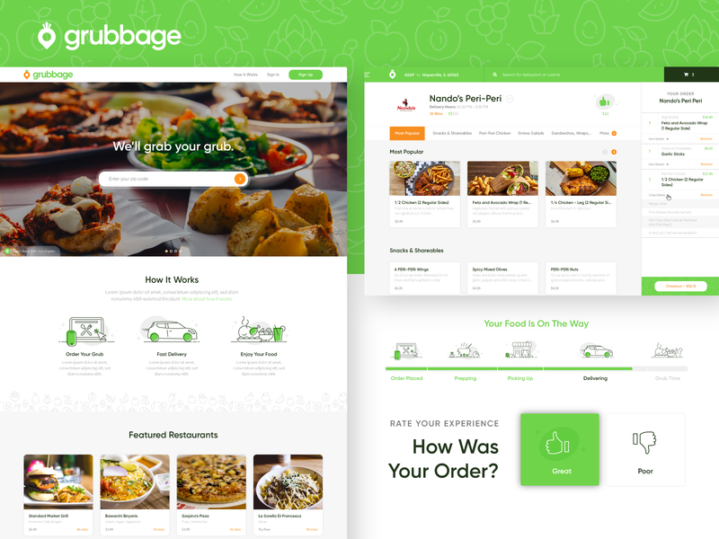Grubbage :: Front-End Web checkout card style rating progress bar map order restaurant driver iconography icons green location delivery food web design web ux ui