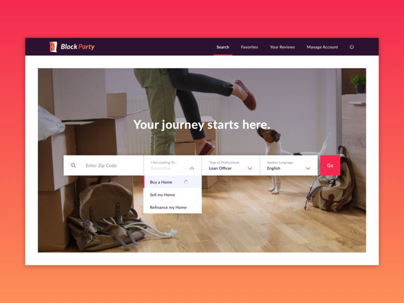 Search Bar gradient homepage web design design ux ui hero image dropdown zip code hero search