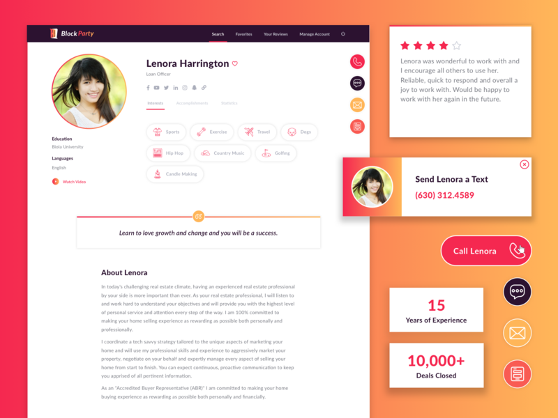 Expert Profile Page colors icons form sign in quote web design ux ui interests reviews social media