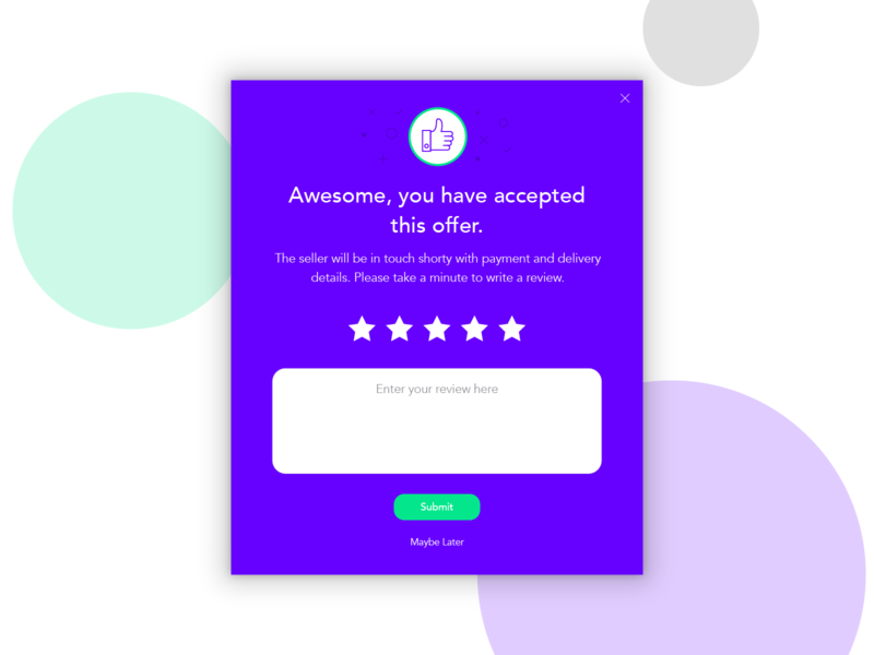 Zeonite Offer Accepted retail consumer accepted star rating offer rating modal app design app account user ux ui purple icon notification popup