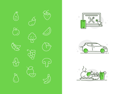 Grubbage :: Iconography avocado apple vegetables fruit spoon fork computer meal car delivery food iconography icon branding brand