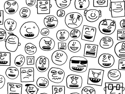 silly faces! doodle drawing illustration faces