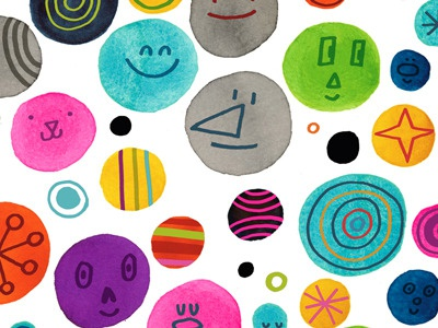 dots! dots watercolor illustration pattern happy multi-colored drawing