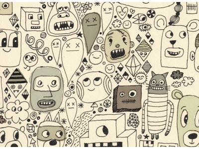 10/29/10, doodle doodle drawing illustration faces hyperdoodle rapidograph sketch maura cluthe
