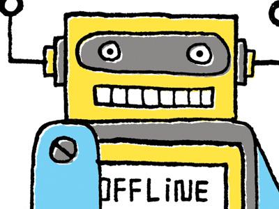 sticker bot, in progress robot sticker maura cluthe sticker bot