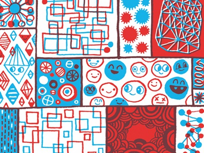 Merry Christmas! doodle illustration red and blue maura cluthe christmas card