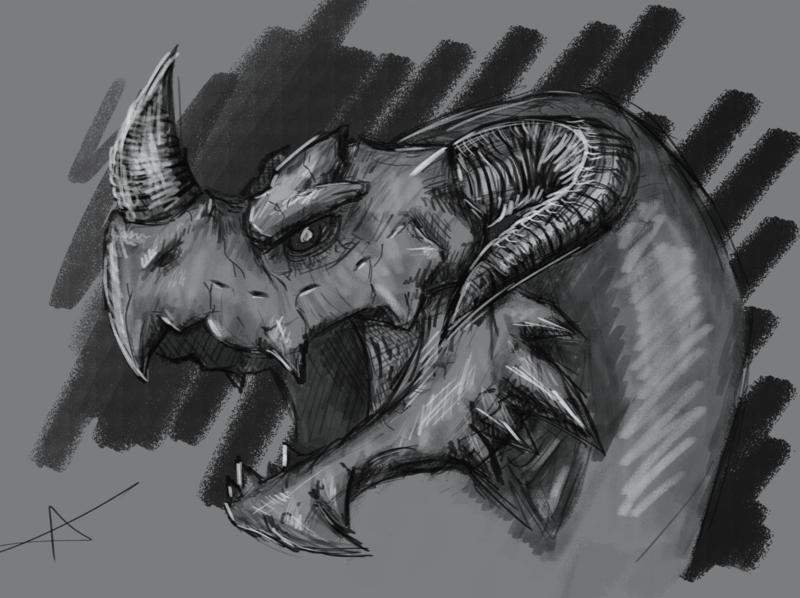 Dragon sketch animals fantasy drawing illustration chalk charcoal pencil sketch stone demon monster dragon