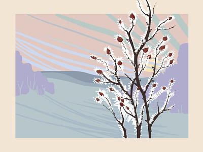 Hoarfrost Illustration landscape winter hoarfrost editorial digital illustration vector illustration illustration