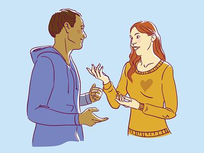 Talk from the heart talking people lineart editorial digital illustration vector illustration flat illustration illustration