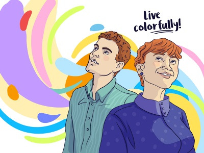 Live colorfully colorful energy young people line art editorial digital illustration vector illustration flat illustration illustration