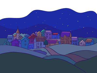 Night landscape, small town night editorial city illustration landscape town digital illustration vector illustration flat illustration illustration