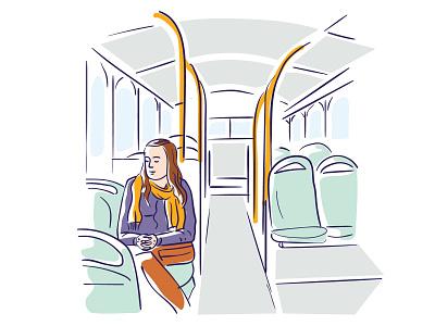 Meditating on the bus vector art editorial digital illustration vector illustration flat illustration illustration mindfulness meditate pray woman seats