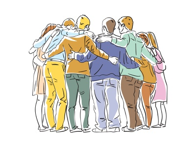 Group hug line art people hug team group vector vector art editorial digital illustration vector illustration flat illustration illustration