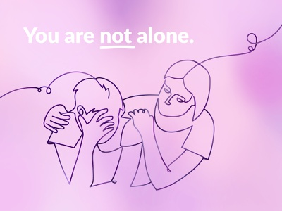 You are not alone. calmness purple line phone cord connection phone listen support therapy psychotherapy line art illustration poster design poster element