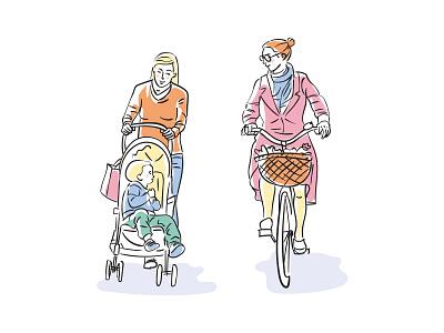 Taking a walk bright colors baby bicycle walking people vector art vector editorial digital illustration vector illustration flat illustration illustration