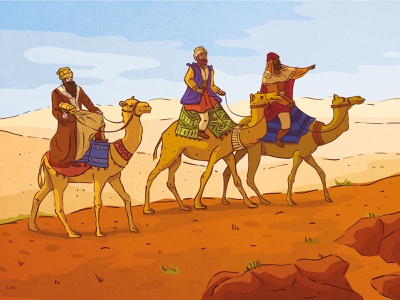 Three Holy Kings in the Desert series advent postcard design postcard line art vector art vector digital illustration vector illustration illustration