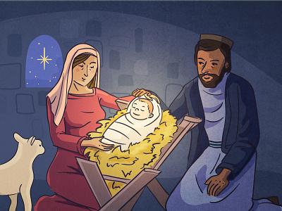 The Birth of Jesus sheep maria jesus nativity biblical postcard vector art vector editorial digital illustration vector illustration illustration