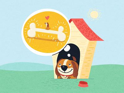 😴 Dreaming of a bone 🍗 bone dog children book illustration childrens illustration vector art vector editorial digital illustration vector illustration illustration