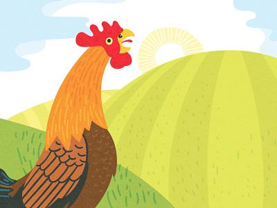 🌄 Good morning! 🌞 rooster sun childrens book illustration morning landscape digital illustration vector art editorial vector illustration illustration