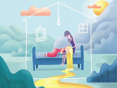 Insomnia and Sleep Fairy sleep home fairy texture landscape editorial digital illustration vector flat illustration illustration