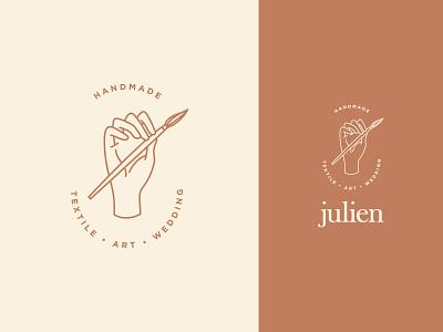 Julien textile artist logo proposal logo idea logo proposal textile artist hand drawn handmade logo mark logodesign logotype logo
