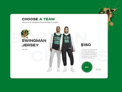 Product card nike celtics product card sport nba ui jacket ecommerce basketball webdesign web ui design design