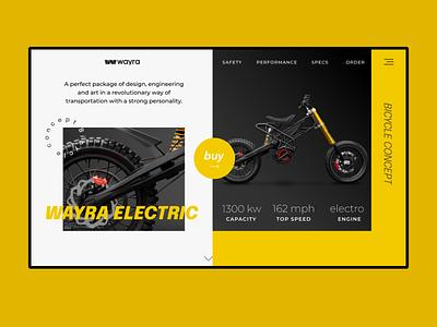 Wayra electric motorbike shop ui web ui design design