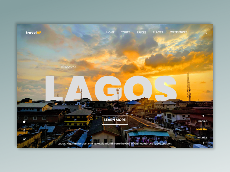 Travel Africa adobe photoshop figma travelwebsite nigeria lagos cities travel webdesign