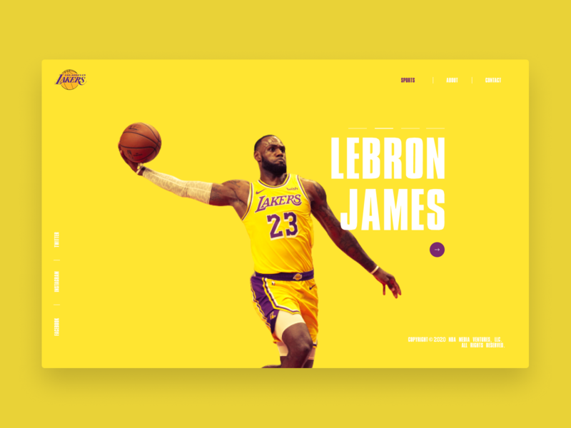 Lakers - LeBron James yellow basketball lebronjames nba lakers figma uiuxdesign webdesign