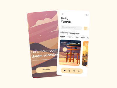 Travel App vacation travelapp travel illustration mobiledesign uiuxdesign figma