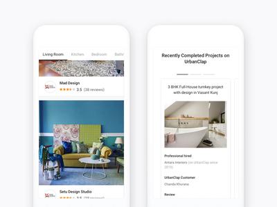 Mobile Web version of Interior Designer Landing page
