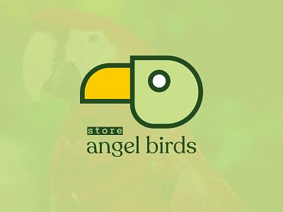 Angel Birds Store parrot bird store birds modern logo concept ui vector logos brand minimal monogram identity branding logo