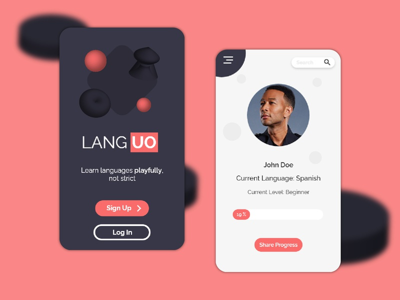 Language App Design learning app mobile app application red 3d modeling design blender3d 3d minimal ux ui web design mobile ui mobile app design app