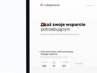 dajWsparcie.pl ⛑ branding webdesign location support ux ui dashboard interface covid hospital coronavirus corona stepwise healtcare landingpage stayhome map infected covid-19 covid19
