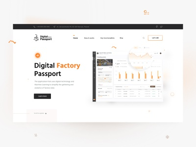 Digital Factory Passport - Landing Page minimalist ui product design website sensors dashboard chart layout flat utilities energy factory agency figma landing page