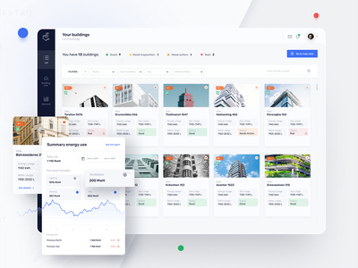 Digital Building Passport - Application digital passport buildings panel white dashboard gui webapp application ui figma stepwise design ux minimal