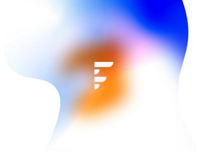 Blue and orange gradient letter f letter f orange blue colors logotype logo minimal