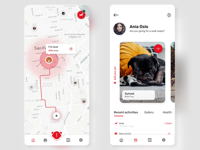 PetWise - Mobile App ios map googlecloud lovedog uxdesign uidesign ux ui design mobile lost finder petfinder application app animal dog stepwise petwise pet
