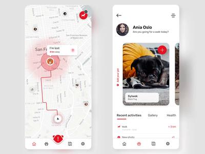PetWise - Mobile App ios map googlecloud lovedog uxdesign uidesign ux ui design mobile lost finder petfinder application app animal dog stepwise petwise pet